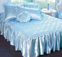 Покрывало атласное с рюшами и подушками  Белое