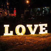Светящиеся ретро буквы LOVE
