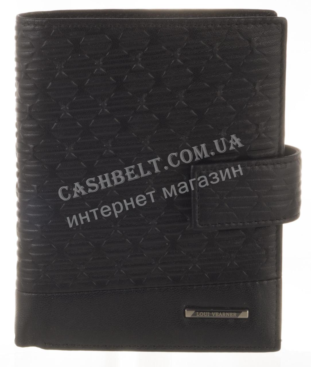 Элитный стильный прочный бумажник из натуральной качественной кожи LOUI VEARNER art. LOU82-368A черный