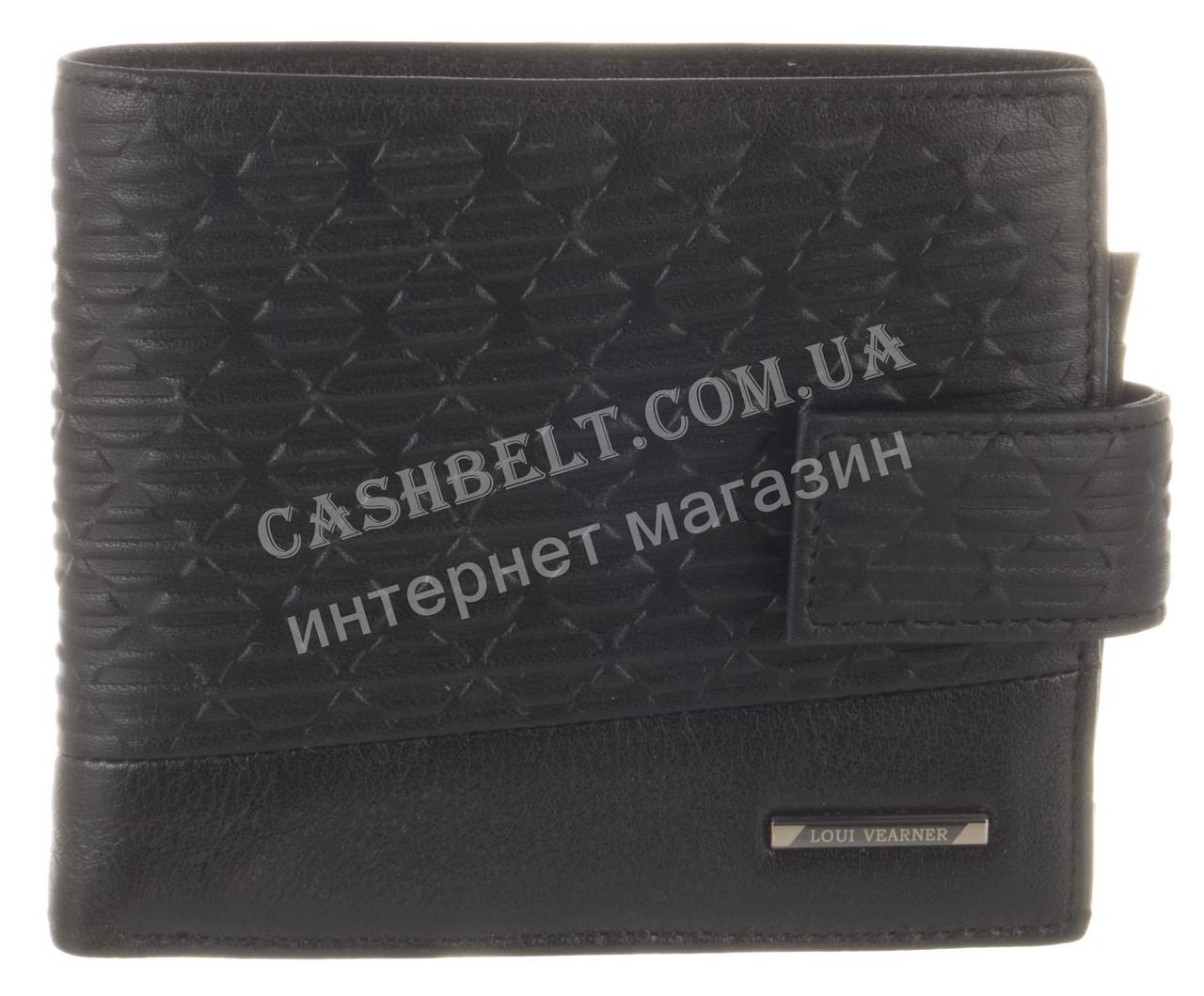 Элитный стильный прочный бумажник из натуральной качественной кожи LOUI VEARNER art. LOU82-1077A черный