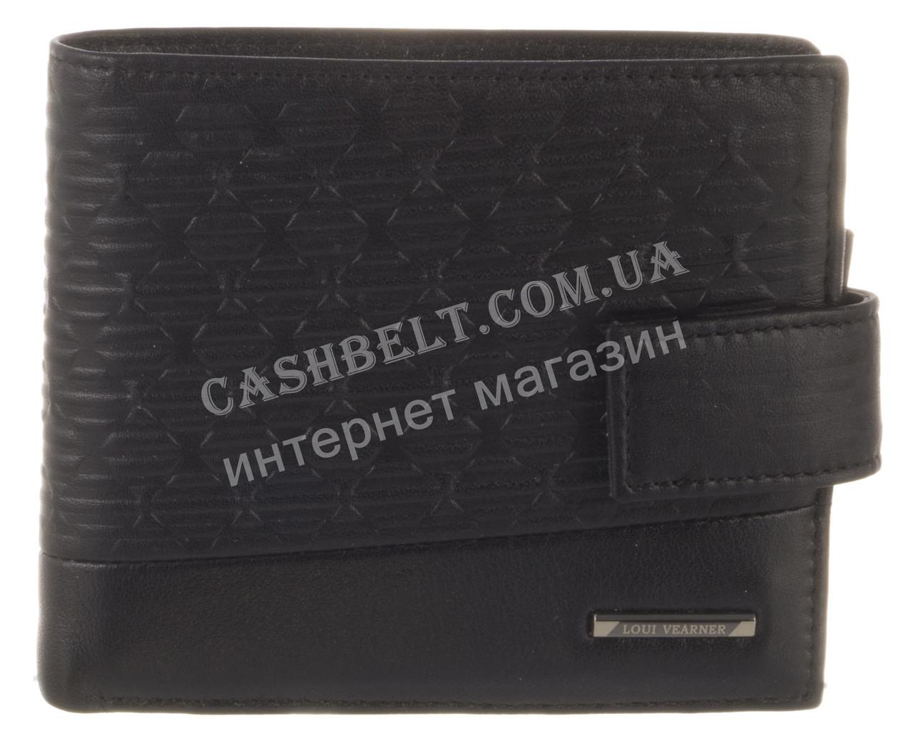 Элитный стильный прочный бумажник из натуральной качественной кожи LOUI VEARNER art. LOU82-594A черный