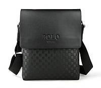 Стильная молодежная мужская сумка-планшет Polo, Поло чёрная, фото 1