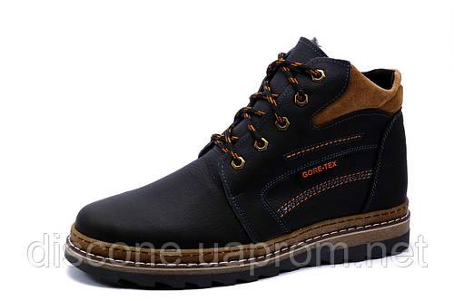 Ботинки зимние Gore Tex, мужские, на меху, натуральная кожа, черные с коричневым