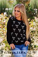 Женский черный свитшот Панда