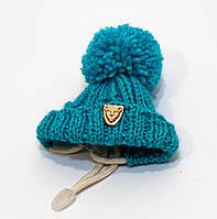 Зимняя шапка с бубоном VipDoggy размер M бирюзовый