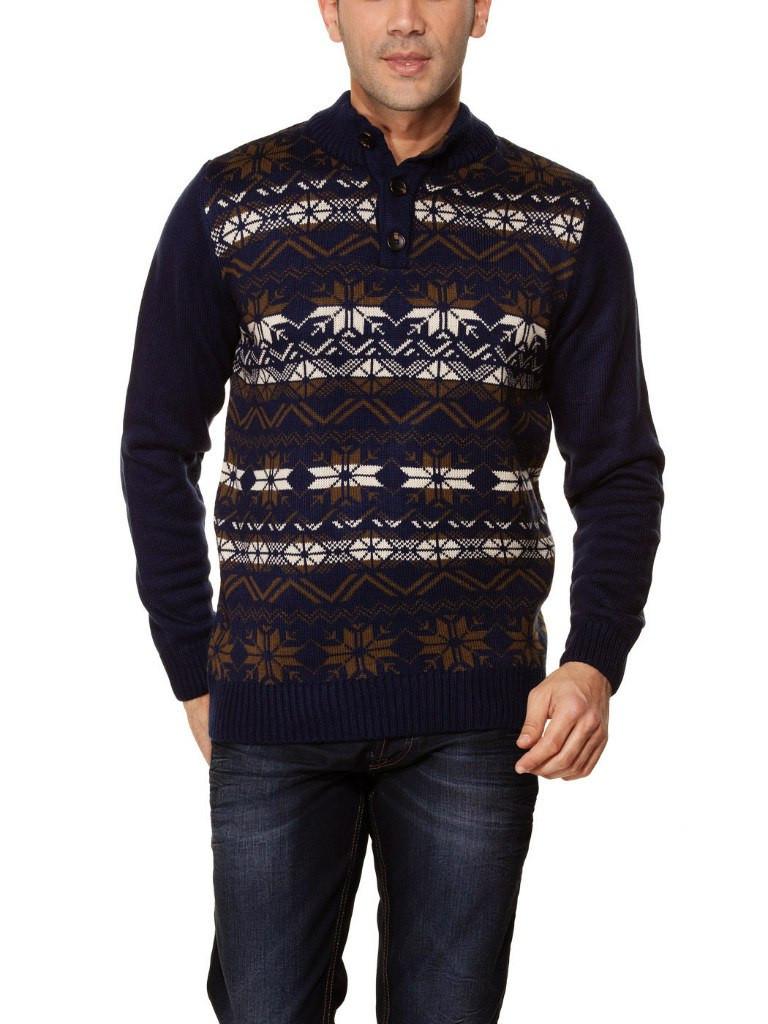 Чоловічий синій светр LC Waikiki з кольоровим візерунком