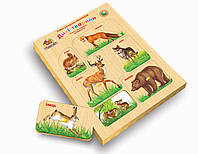 Рамки-вкладыши с подслоем Дикие животные. Материал: дерево. Методика Монтессори.