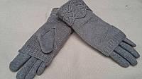 Двойные очень теплые рукавички, светло-серые, разных цветов и размеров, 145/110 (цена за 1 шт. + 35 гр.)
