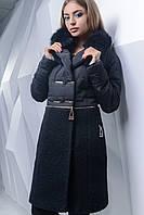 Комбинированное женское пальто полуприлегающего силуэта с отложным воротником плащевка букле