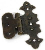 Петля декоративна стара бронза G-330 накладная фігурна