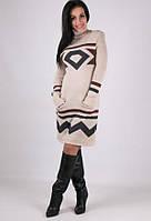 Вязаное женские платье Диамант песочный -графит-шоколад