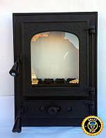 Печная дверца со стеклом Аллигатор, чугунные дверки для печи и барбекю