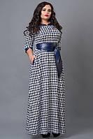 Длинное платье в пол из французского трикотажа принт лапки