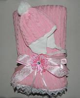 Конверт на выписку с шапочкой зимний (розовый)