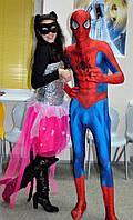 Спайдермен и Кетвумен на детский праздник. Аниматор Человек Паук, Киев. Супергерои Марвел.