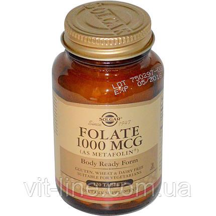 Solgar, Фолиевая кислота, 1000 мг, 120 таблеток, фото 2