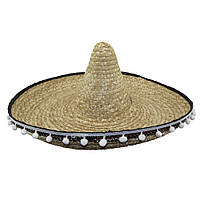 Шляпа Сомбреро солома 50 см с кисточками (бежевая)  KSG-0671