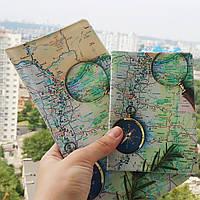 """Обложка для паспорта """"Карта с компасом """", фото 1"""