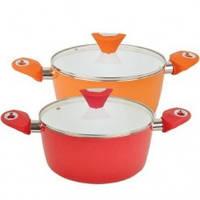 Кастрюля керамическая Maestro 22 см 3,5 литра (красный, оранжевый)