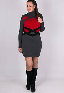 Вязаное женские платье Катерина красно серое