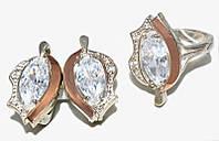 Серебряные женские наборы c цирконом. Серьги +кольцо. Размеры уточняйте.