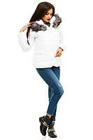 """Стильная белая курточка """" Прованс """" с натуральным мехом, на синтепоне. Арт-8812/74"""