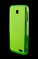 Силиконовый чехол для Lenovo A398t зеленый / прозрачный