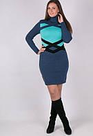 Вязаное женские платье Катерина бирюзово серое