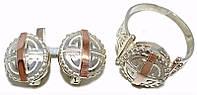 Серебряные женские наборы c узором. Серьги +кольцо. Размеры уточняйте.