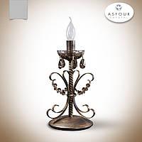 Настольная лампа металлическая с хрусталем