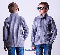 Серый свитер с карманами для мальчика