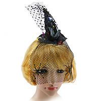Шляпка на ободке Ведьмочки с вуалью  KSG-3749