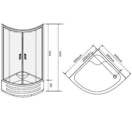 Душевая кабина на глубоком поддоне, профиль белый, стекло EGER TISZA MELY Zuzmara (599-187), фото 2