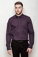 Привлекательная мужская рубашка классического кроя с длинными рукавами и накладным карманом на груди вишневая