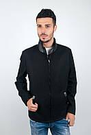 Модная мужская куртка прямого кроя из шерстяного материала со вставками экокожи с воротником стойкой на молнии темно-синяя, черная