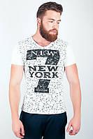 Модная мужская футболка с оригинальным V-образным воротом с цифрой 7 и надписью на груди белая, голубая, красная, салатовая, светло-серая, синяя,