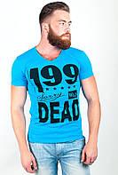 Оригинальная мужская футболка приталенного кроя с необычным принтом на груди белая, голубая, светло-серая, синяя