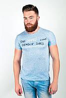 Эффектная мужская футболка свободного кроя с надписью на груди бордо, голубая, светло-зеленая, светло-серая, серая, темно-серая