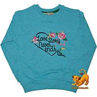 """Детский оригинальный батник """"Love Story"""" , трикотажный (интерлок) , для девочек от 1-8 лет"""