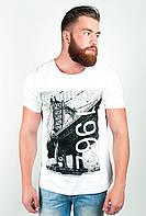 Оригинальная мужская футболка больших размеров из качественного хлопка с рисунком на груди белая, желтая, зеленая, черная