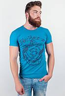 Модная мужская футболка из качественного хлопка с оригинальным принтом впереди изумрудная