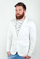 Стильный мужской пиджак приталенного кроя с карманами по бокам из качественного коттона белый, оливковый, светло-серый