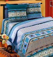 Постельное белье Фланель(байка), Орнамент синий - полуторный комплект