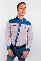 Необычная мужская рубашка из качественного хлопка с длинными рукавами и оригинальными вставками на плечах и манжетах бордо, коричневая