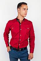Эффектная мужская рубашка оригинального фасона с контрастным воротником и вставкой вереди бордо, голубая, темно-синяя, черная