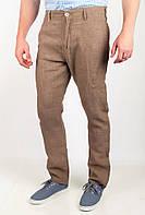 Удобные мужские брюки приталенного кроя с высокой талией без лишних декоративных деталей бежевые, оливковые, петроль, светло-бежевые