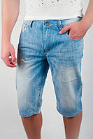 Стильные мужские бриджи оригинального кроя с карманами по бокам из тонкого джинса голубые
