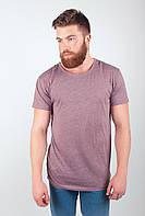 Удобная мужская футболка простого свободного кроя без лишних декоративных деталей бордо, серая