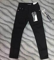 Чёрные джинсы на флисе для девочек 140-146см