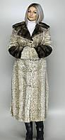 Шубка женская искусственная бежевый леопард  М-62 42-52 размеры
